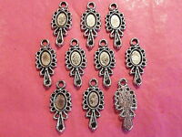 Tibetan Silver Looking Glass/Hand Mirror Charm #1 pack of 10 Alice themes