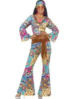 Hippy Costume Ladies Flares & Top 60's 70's Hippie Fancy Dress All Sizes