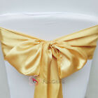 10pcs Gold Satin Chair Cover Bow Sash Wedding Party Decor Banquet WED-SCS-36