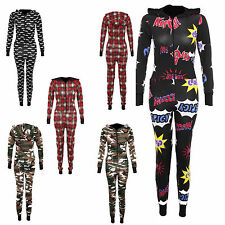 Womens Ladies MilitaryTartan Boom Print  all in one hooded Onesie Jumpsuit 8-16
