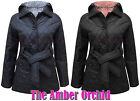 NEW LADIES QUILTED PADDED HOODED BELTED BUTTON UP JACKET COAT SIZE 8 10 12 14