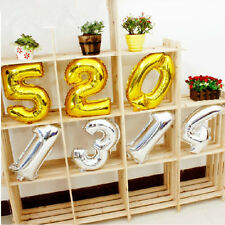 "16"" Silver Gold Foil Helium Number Balloons Party Birthday Wedding Decoration"