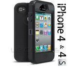 BLACK HARD SHOCK PROOF CASE COVER FOR APPLE IPHONE 4 & 4S