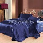 DELUXE KING SIZE BED SATIN SOFT FITTED FLAT PILLOWCASE SHEET SET - Navy Blue