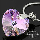 925 STERLING SILVER PURPLE SWAROVSKI CRYSTAL WOMENS HEART PENDANT NECKLACE S1021
