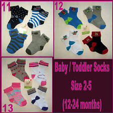 BABY / TODDLER SOCKS 4 Pk - 12-24m ( Sox Sz 2-5 ) Boy or Girl  Great Quality NEW
