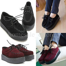 Women Lace Up Suede Creeper Shoes Boots Lady Ankle Punk Platform Flats Sneakers