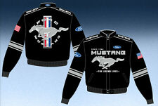 Ford Mustang Jacket Black Twill Embroidered Logos Licensed JH Design Jackets