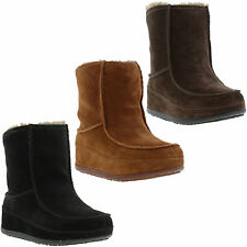 New Fitflop Mukluk Moc 2 Ladies Black Brown Boots Womens Shoes Size UK 6.5
