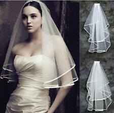 New 2T White Or Ivory Wedding Bridal With Veil Satin Edge Comb Elbow