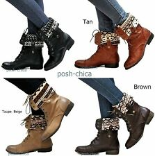 New Women Esr Black Tan Brown Taupe Combat Military Mid-Calf Riding Boots