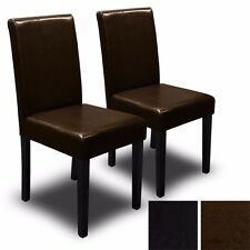 Set of (2) Black / Brown Elegant Design Leather Contemporary Dining Chairs Room