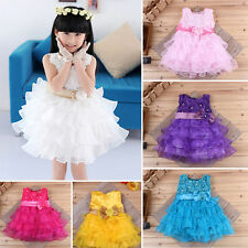 Kids Girls Flower Dresses Lace Bow Flower Layered Princess Dresses for Party LA
