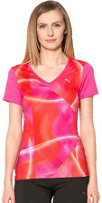 WOMANS Pink Puma Exercise Graphic Printed Stretch Fit  Gym Tee Shirt Top RRP £25