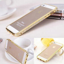Luxury Crystal Rhinestone Diamond Bling Metal Frame Case Cover Bumper For iPhone