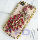 Leather Peacock Diamond Rainstone Bling Case Cover for iPhone 4G 4Gs 4S Pink