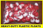 "50 FISHING BOBBERS Round Floats 1"" RED & WHITE! SNAP ON FREE USA SHIP #07120-002"