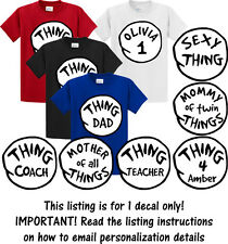 Thing DECALS 1 2 3 4 5 6 Iron on shirt Transfer (1 decal only!)