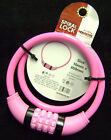 NEW PINK BIKE CYCLE COMBINATION SPIRAL LOCK. STEEL 10mm x 650mm