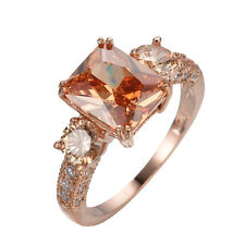 Rings Size 6/7/8/9 Champagne Topaz CZ Women's 10Kt Rose Gold Filled Wedding Gift