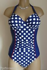NEW RESORT BLUE/WHITE SPOT TUMMY CONTROL SWIMSUIT HALTER NECK PADDED MOULDED