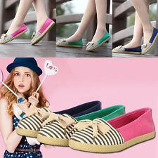 2015 Women Canvas Flat Slip On Loafers Bowknot Stripe Comfy Casual Ballet Shoes