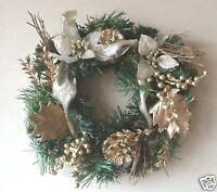 "Christmas Decoration 10"" Wreath Green & Gold NEW 6606"