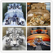 animal tiger wolf leopard Cotton king queen Size Duvet quilt Cover bed Set sheet
