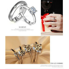 Lovers Heart Silver Crystal Couple Rings Her and His Promise Party Ring Band Set