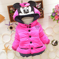 Lovely !! NEW Girls Baby Toddler Winter Cotton Mouse Hooded Cartoon Coat Jacket