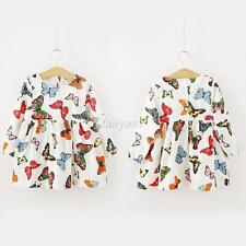 Childlike Child Girl Princess Butterfly Long Sleeve Baby One-Piece Dress New F92