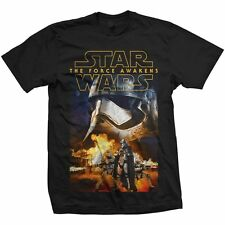 STAR WARS EPISODIO VII 7 la forza SCALDA phasma & Troopers POSTER NERO T SHIRT