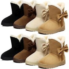 Womens Winter Snow Fur Faux Suede Buckles Snow Boot Low Heel Ankle Boots Shoes