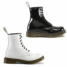 New Dr Martens 1460 Patent Womens Black White Leather Ankle Boots Size UK 4-8
