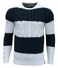 Soul Star Ham 1 Men's Striped Crew Neck Cable Knit Two Tone Jumper Top navy