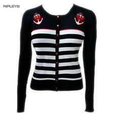 BANNED Nautical Black ~ PRIVATE PARTY Cardigan Anchor Stripe All Sizes
