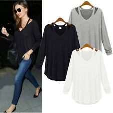 Top Women Casual Cotton Long Sleeve V Shirt Party Loose Blouse T Shirt Plus SIZE