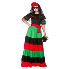 Ladies Womens Day of The Dead Senorita Costume for Halloween Fancy Dress Outfit