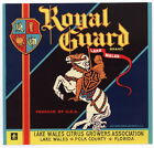 ROYAL GUARD Vintage Florida Citrus Crate, Label, Knight, **AN ORIGINAL LABEL**