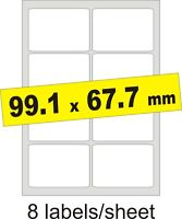 99.1x67.7mm / 40 Labels / 5 A4 sheets Gloss Clear Transparent Inkjet Stickers