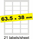 63.5x38mm / 105 Labels / 5 A4 sheets / Gloss Clear Transparent Inkjet Stickers