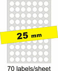 25mm Round 350 Inkjet Labels/5 A4 sheets Gloss Clear Transparent Inkjet Stickers