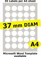 37mm Round 175 Labels / 5 A4 sheets Gloss Clear Transparent Inkjet Stickers