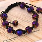 1PC PURPLE 96/FACETED 12MM CRYSTAL DISCO GLASS BEADED MACRAME BRACELET HIP HOP