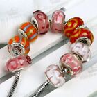 MIXED 5 KINDS OF LAMPWORK GLASS BEAD FOR BRACELET 10PCS