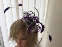 SILVER  AND PURPLE  FASCINATOR/ACCESSORIES/HAT/ASCOT/
