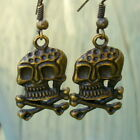 Steampunk SKULL Pirate Earrings Victorian gothic witch charm quirky party