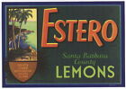 ESTERO Vintage Santa Barbara County Lemon Crate Label, AN ORIGINAL CITRUS LABEL