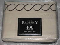 400 TC King Sheet Set Microfiber Beige Embroidered  Bed Deep Pockets Sleep NEW!