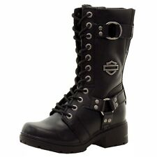 Harley Davidson Women's Eda Fashion Black Leather Boots Shoes